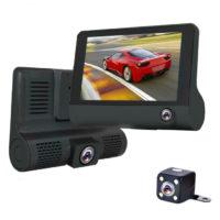 Видеорегистратор 3 камеры, разрешение FHD 1080, LTPS 4.0, угол обзора 170°